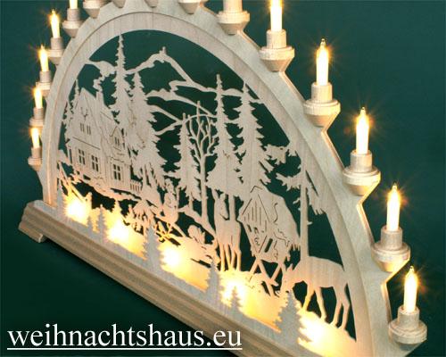 Seiffen Weihnachtshaus - Schwibbogen 20 Kerzen Forsthaus 80 cm - Bild 2