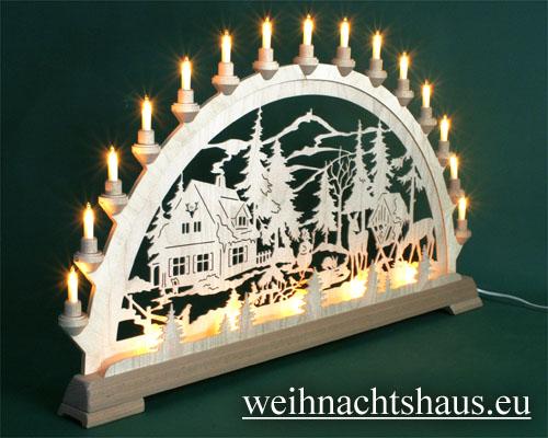 Seiffen Weihnachtshaus - Schwibbogen 20 Kerzen Forsthaus 80 cm - Bild 3