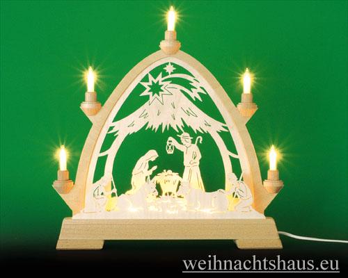 Seiffen Weihnachtshaus - Lichterspitze Erzgebirge beleuchtet Christi Geburt 40 cm - Bild 1