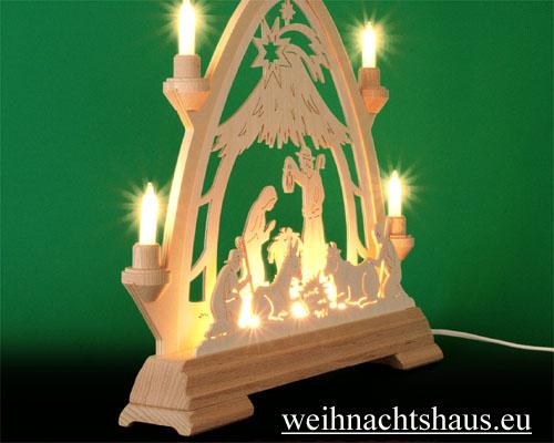 Seiffen Weihnachtshaus - Lichterspitze Erzgebirge beleuchtet Christi Geburt 40 cm - Bild 2