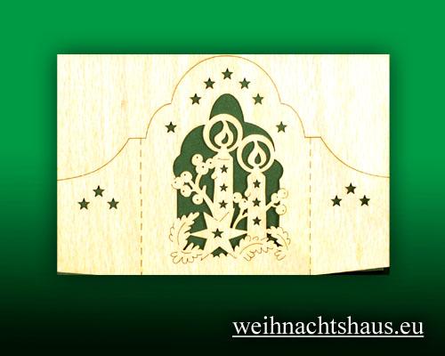 Seiffen Weihnachtshaus - Holzkarte Schattenbild Kerzen - Bild 1