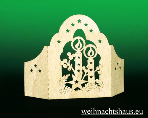 Seiffen Weihnachtshaus - Holzkarte Schattenbild Kerzen - Bild 2