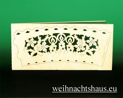 Seiffen Weihnachtshaus - Holzkarte Teelicht Kerzen - Bild 1