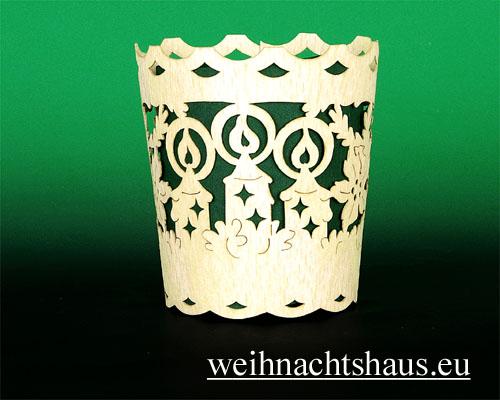 Seiffen Weihnachtshaus - Holzkarte Teelicht Kerzen - Bild 2