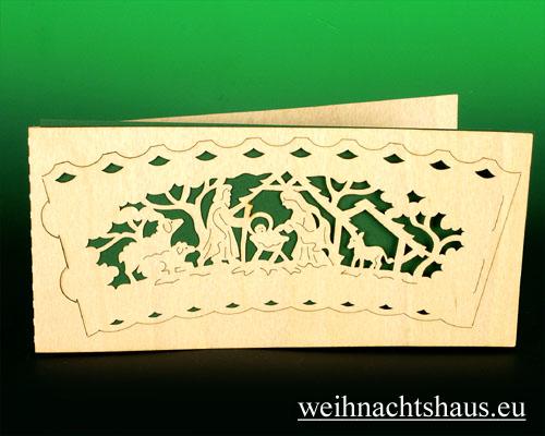 Seiffen Weihnachtshaus - Holzkarte Teelicht Krippe - Bild 1