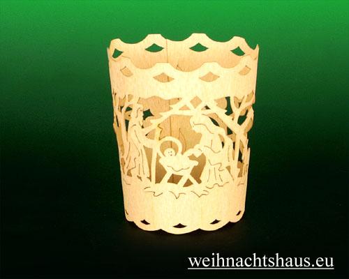 Seiffen Weihnachtshaus - Holzkarte Teelicht Krippe - Bild 2