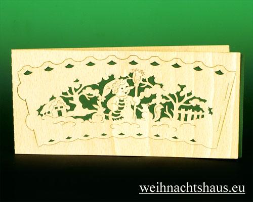 Seiffen Weihnachtshaus - Holzkarte Teelicht Schneemann - Bild 1