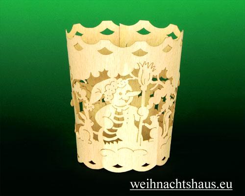 Seiffen Weihnachtshaus - Holzkarte Teelicht Schneemann - Bild 2