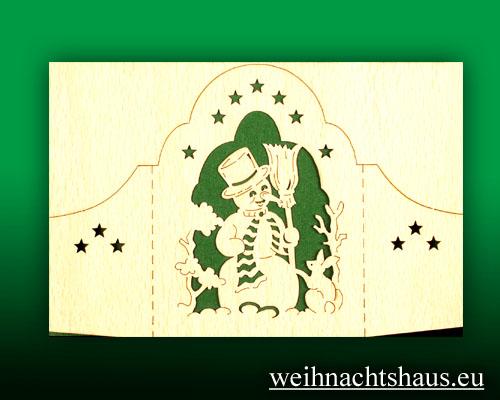 Seiffen Weihnachtshaus - Holzkarte Schattenbild Schneemann - Bild 1
