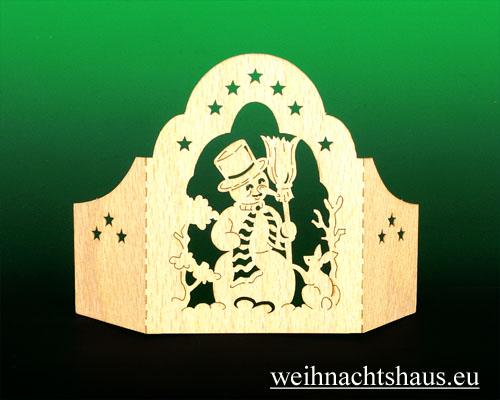 Seiffen Weihnachtshaus - Holzkarte Schattenbild Schneemann - Bild 2