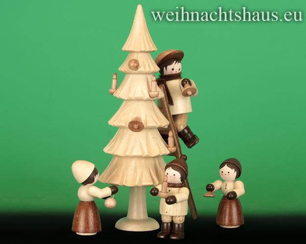 Seiffen Weihnachtshaus - Erzgebirge Winterkinder natur Weihnachtsbaum schmücken - Bild 2