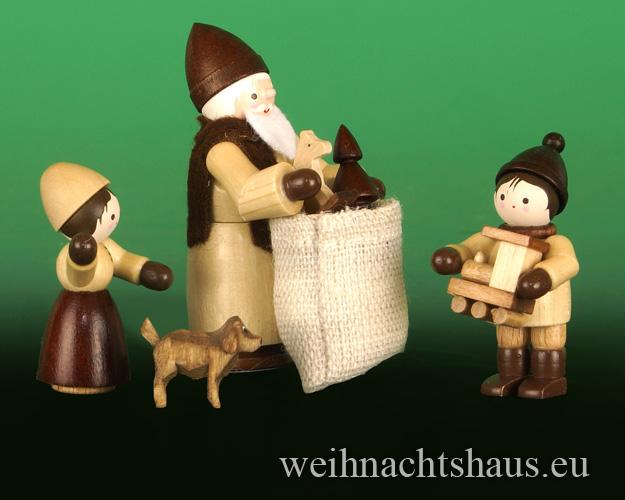 Seiffen Weihnachtshaus - Erzgebirge Winterkinder natur Weihnachtsmann Bescherung - Bild 1