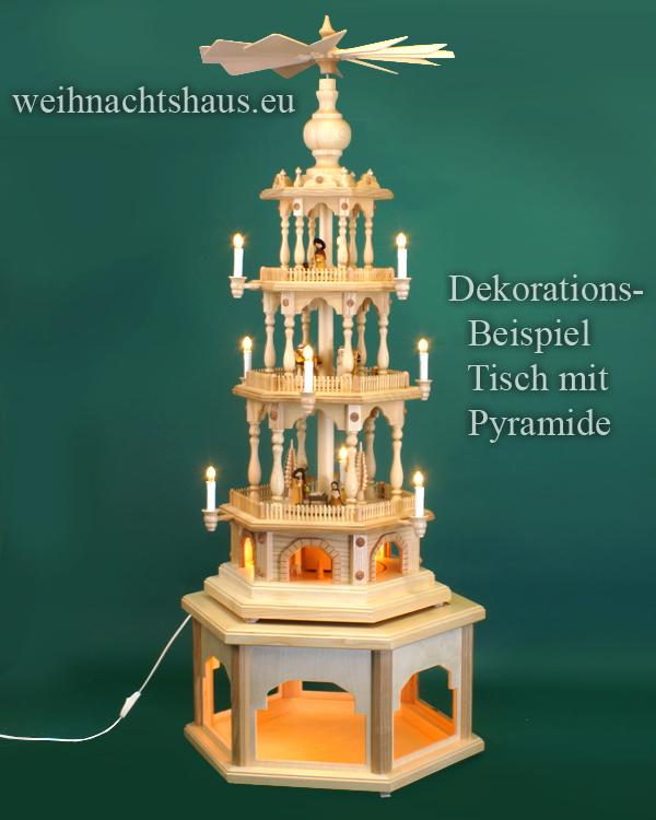 Seiffen Weihnachtshaus - Weihnachtspyramiden- Tisch beleuchtet Höhe 30cm - Bild 3