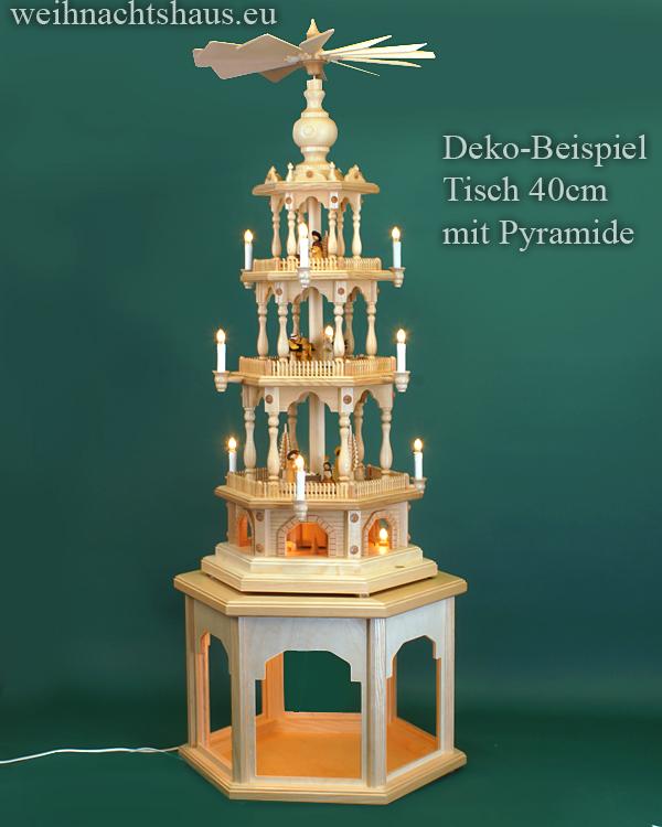 Seiffen Weihnachtshaus - Weihnachtspyramiden- Tisch beleuchtet Höhe 40cm - Bild 3