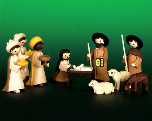 Seiffen Weihnachtshaus - Krippefiguren gedrechselt 10 tlg lasiert - Bild 1