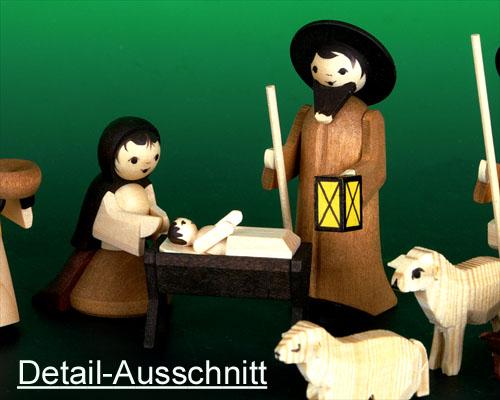 Seiffen Weihnachtshaus - Krippefiguren gedrechselt 10 tlg lasiert - Bild 2