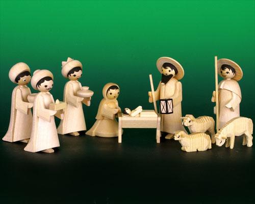 Seiffen Weihnachtshaus - Krippefiguren gedrechselt 10 tlg natur - Bild 1