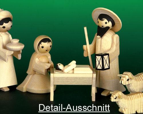 Seiffen Weihnachtshaus - Krippefiguren gedrechselt 10 tlg natur - Bild 2