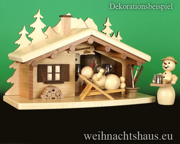 Seiffen Weihnachtshaus - <!--17-->Räucherhaus Schneemann Alm Neuheit 2017 - Bild 2