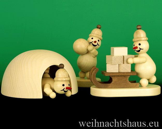 Seiffen Weihnachtshaus - Schneemann Erzgebirge Wagner Iglu - Bild 2