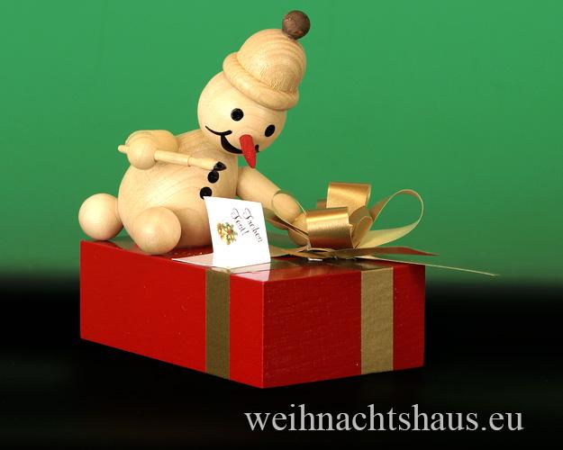 Seiffen Weihnachtshaus - . Kugelschneemann Junior schreibt eine Glückwunschkarte Neu 2015 - Bild 1