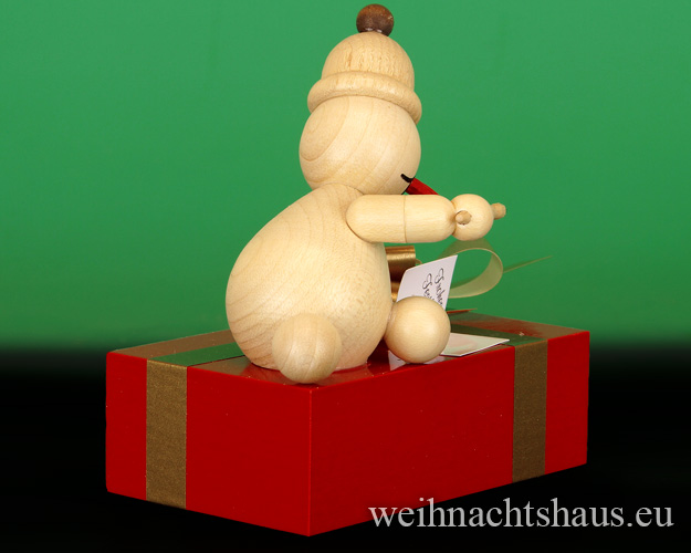 Seiffen Weihnachtshaus - . Kugelschneemann Junior schreibt eine Glückwunschkarte Neu 2015 - Bild 2