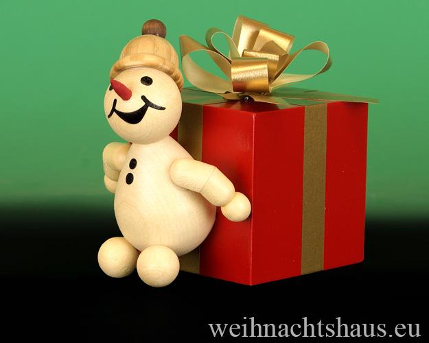 Seiffen Weihnachtshaus - . Kugelschneemann Jubilar mit Geschenkpaket Neu 2015 - Bild 1