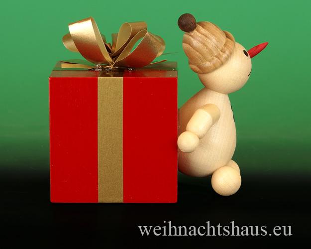 Seiffen Weihnachtshaus - . Kugelschneemann Jubilar mit Geschenkpaket Neu 2015 - Bild 2