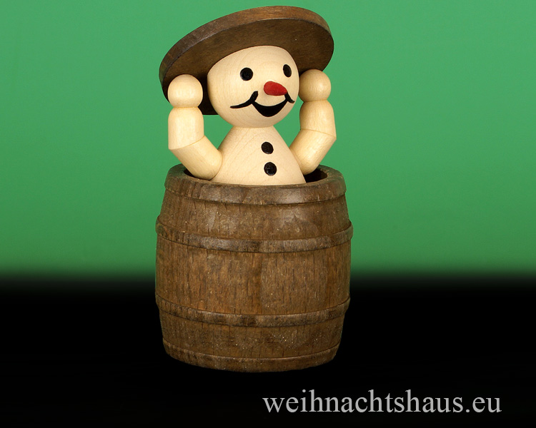 Seiffen Weihnachtshaus - .   Kugelschneemann im Fass mit Deckel - Bild 1