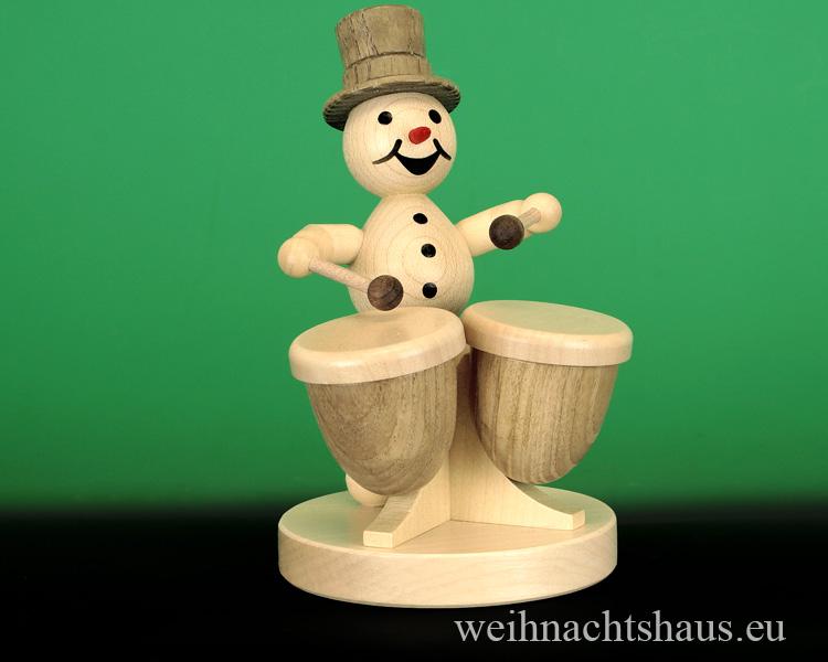 Seiffen Weihnachtshaus - .  Kugelschneemann Musikant  Kesselpauke - Bild 1