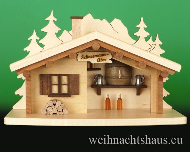 Seiffen Weihnachtshaus - <!--17-->Räucherhaus Schneemann Alm Neuheit 2017 - Bild 1