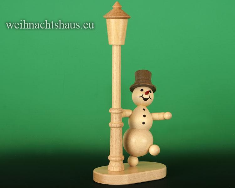 Seiffen Weihnachtshaus - Kugelschneemann an der Laterne - Bild 1