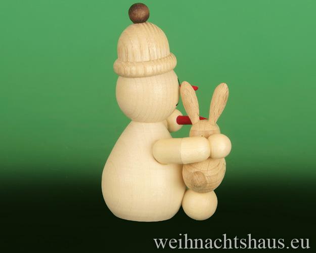 Seiffen Weihnachtshaus - .     Kugelschneemann  mit Hase auf Schoß Neuheit 2018 - Bild 2