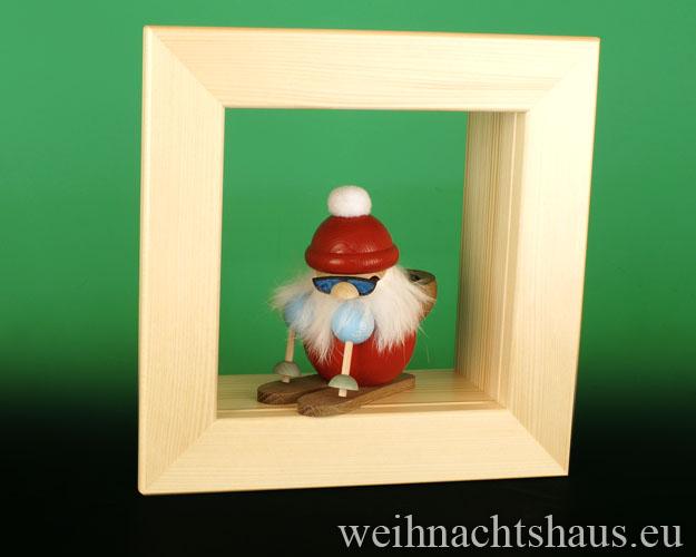 Seiffen Weihnachtshaus - Wandrahmen-Kastenrahmen natur Rahmen aus Holz    B 24 x H 24 cm - Bild 3