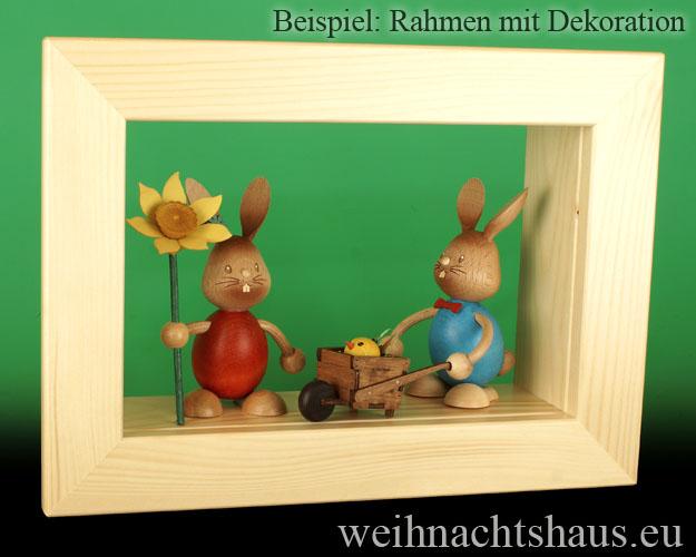 Seiffen Weihnachtshaus - Wandrahmen-Kastenrahmen natur Rahmen aus Holz    B 33 x H 24 cm - Bild 2
