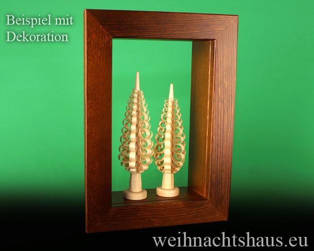 Seiffen Weihnachtshaus - Wandrahmen-Kastenrahmen braun Rahmen aus Holz    B 33 x H 24 cm - Bild 3