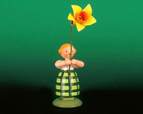 Seiffen Weihnachtshaus - Wiesenblumenkind 11cm Narzisse - Bild 1