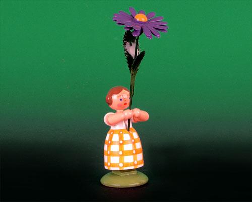 Seiffen Weihnachtshaus - Wiesenblumenkind 11cm Aster - Bild 1