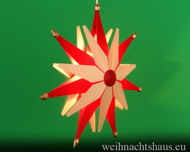 Beleuchteter Weihnachstern aus Holz beleuchtet Holzstern Erzgebirge doppelt Rot-natur