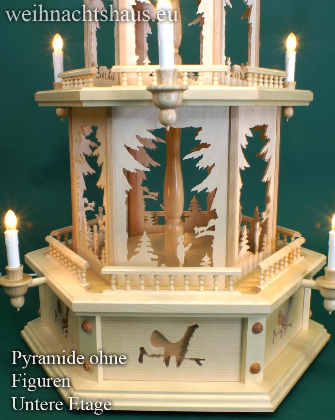 Seiffen Weihnachtshaus - Weihnachtspyramide 100 cm Pyramide mit elektrischer Beleuchtung  ohne Figuren - ohne Bestueckung - Bild 3