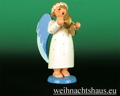 Seiffen Weihnachtshaus - Barockengel farbig Becken - Bild 1