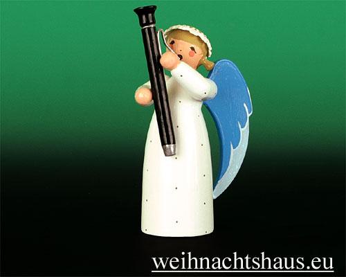 Seiffen Weihnachtshaus - Barockengel farbig Fagott - Bild 1