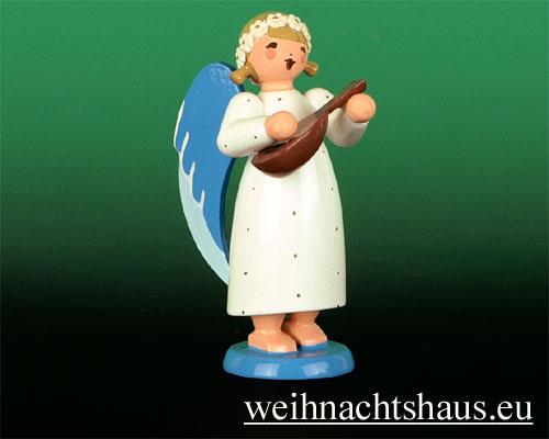 Seiffen Weihnachtshaus - Barockengel farbig Mandoline - Bild 1