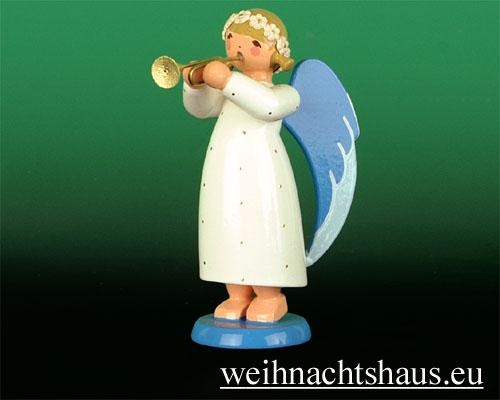 Seiffen Weihnachtshaus - Barockengel farbig Trompete - Bild 1