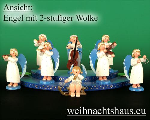 Seiffen Weihnachtshaus - Barockengel farbig Becken - Bild 2