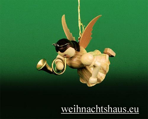 Seiffen Weihnachtshaus - Schwebeengel natur Jagdhorn Blank - Bild 1