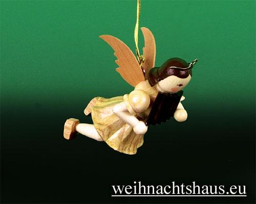 Seiffen Weihnachtshaus - Schwebeengel natur Panflöte Blank - Bild 1