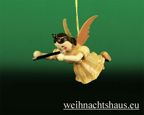 Seiffen Weihnachtshaus - Schwebeengel natur Querflöte Blank - Bild 1