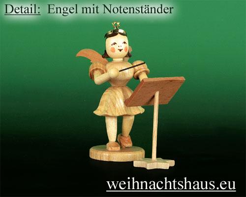 Seiffen Weihnachtshaus - Kurzrockengel natur Dirigent - Bild 2