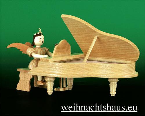 Seiffen Weihnachtshaus - Kurzrockengel natur Flügel - Bild 1